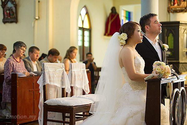 Wedding ceremony in St Peter's Church Melaka, Malaysia